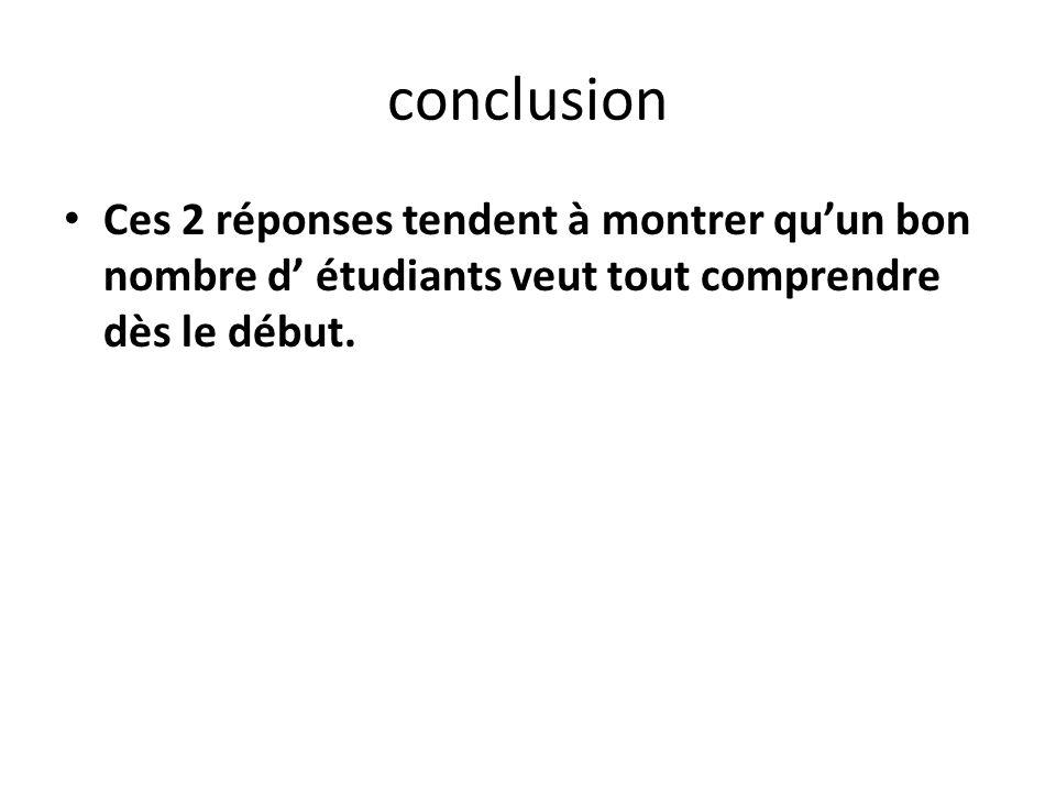 conclusion Ces 2 réponses tendent à montrer qu'un bon nombre d' étudiants veut tout comprendre dès le début.