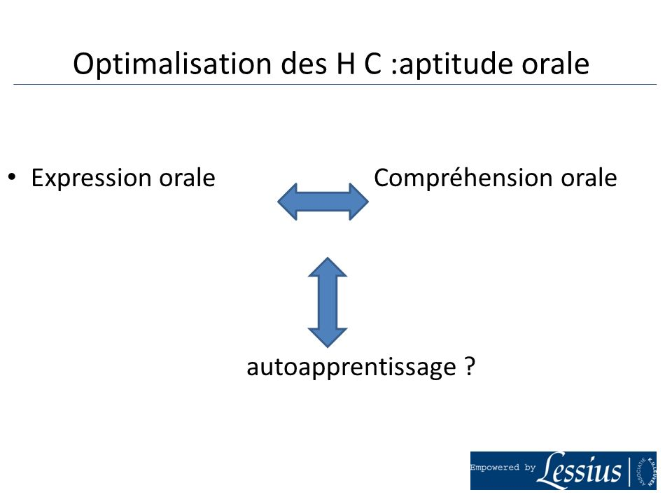 Optimalisation des H C :aptitude orale