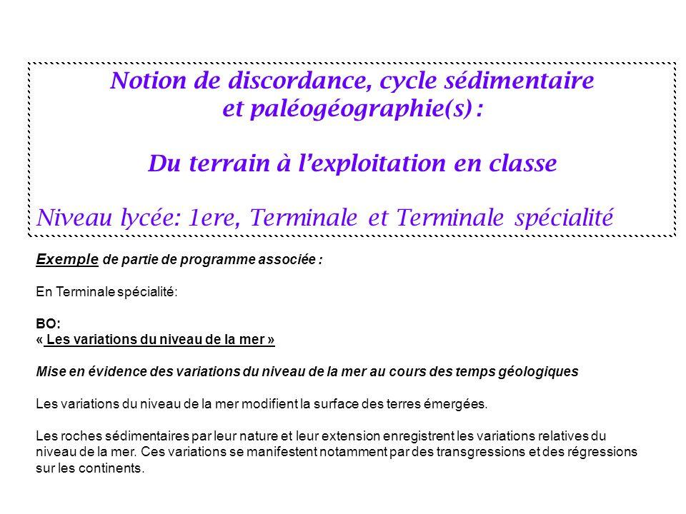 Notion de discordance, cycle sédimentaire et paléogéographie(s) :
