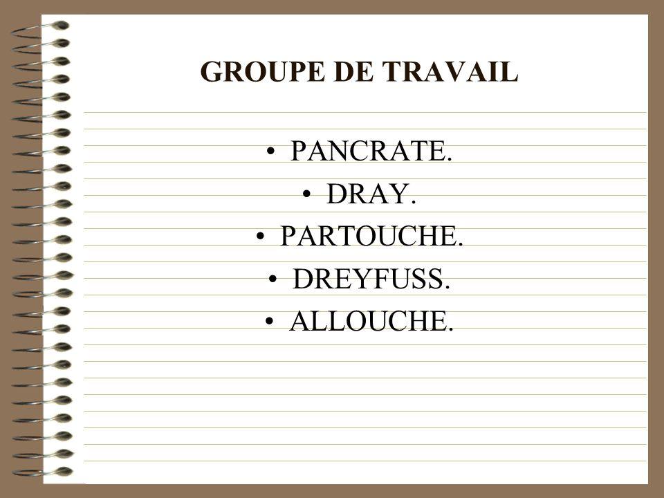 GROUPE DE TRAVAIL PANCRATE. DRAY. PARTOUCHE. DREYFUSS. ALLOUCHE.