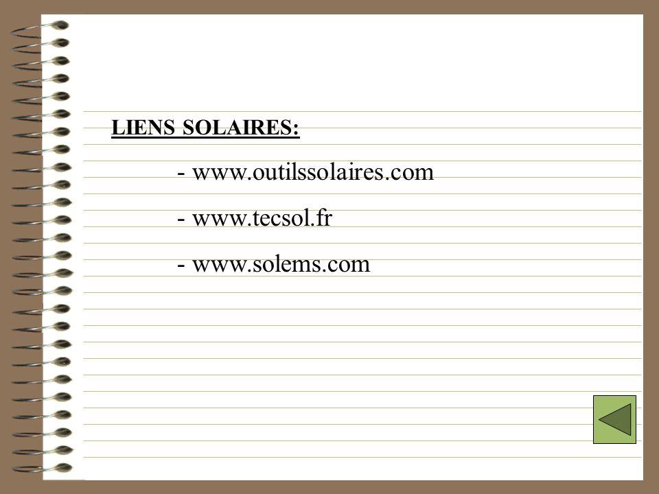 - www.outilssolaires.com - www.tecsol.fr - www.solems.com