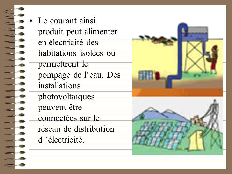 Le courant ainsi produit peut alimenter en électricité des habitations isolées ou permettrent le pompage de l'eau.