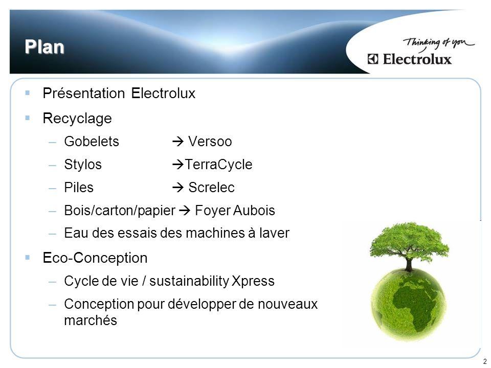 Plan Présentation Electrolux Recyclage Eco-Conception
