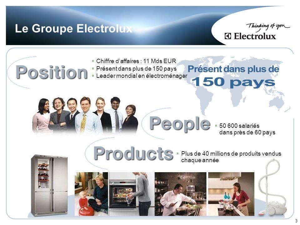 150 pays Présent dans plus de Le Groupe Electrolux