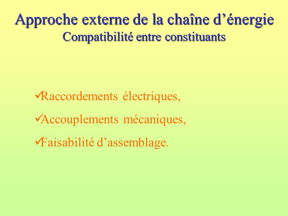 Approche externe de la chaîne d'énergie Compatibilité entre constituants