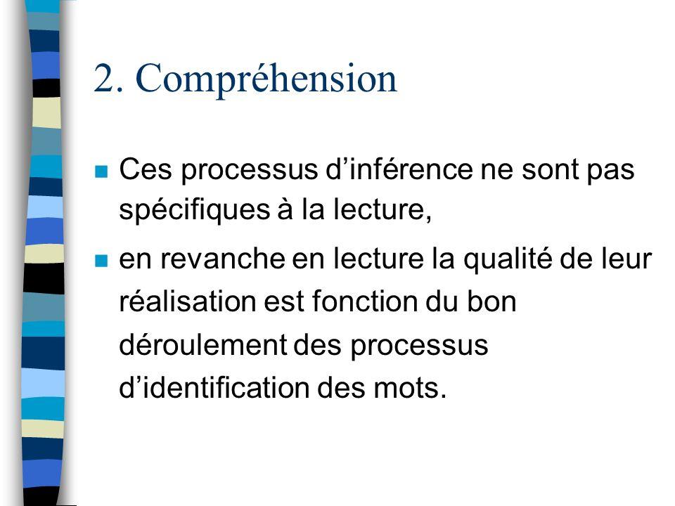 2. Compréhension Ces processus d'inférence ne sont pas spécifiques à la lecture,