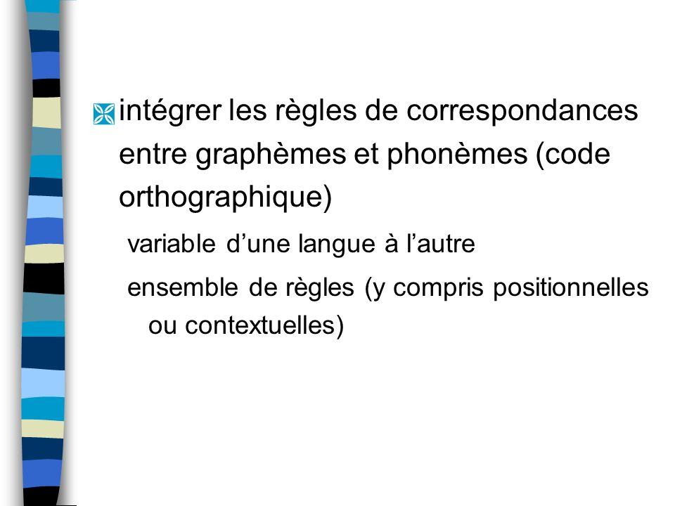 intégrer les règles de correspondances entre graphèmes et phonèmes (code orthographique)
