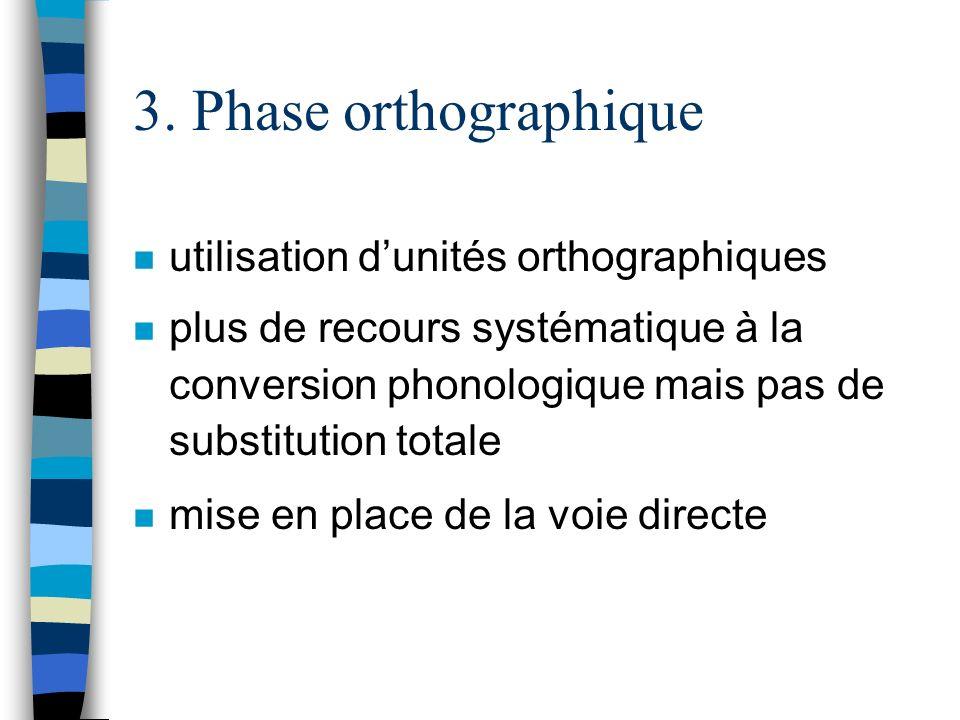 3. Phase orthographique utilisation d'unités orthographiques
