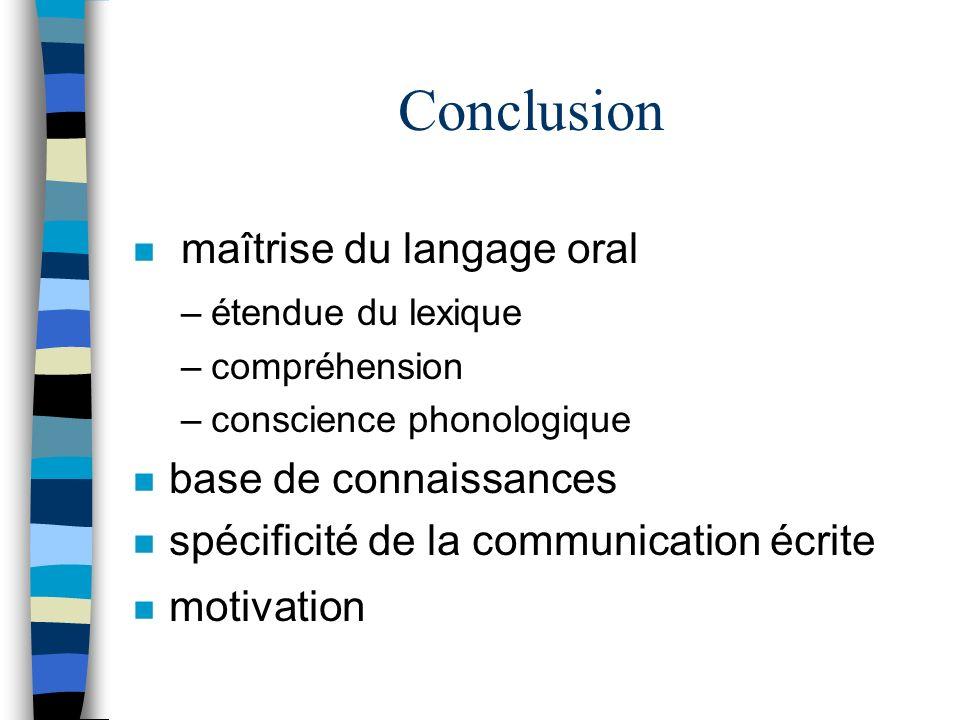 Conclusion maîtrise du langage oral base de connaissances