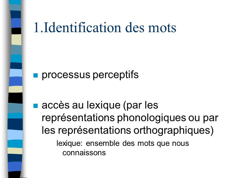 .Identification des mots