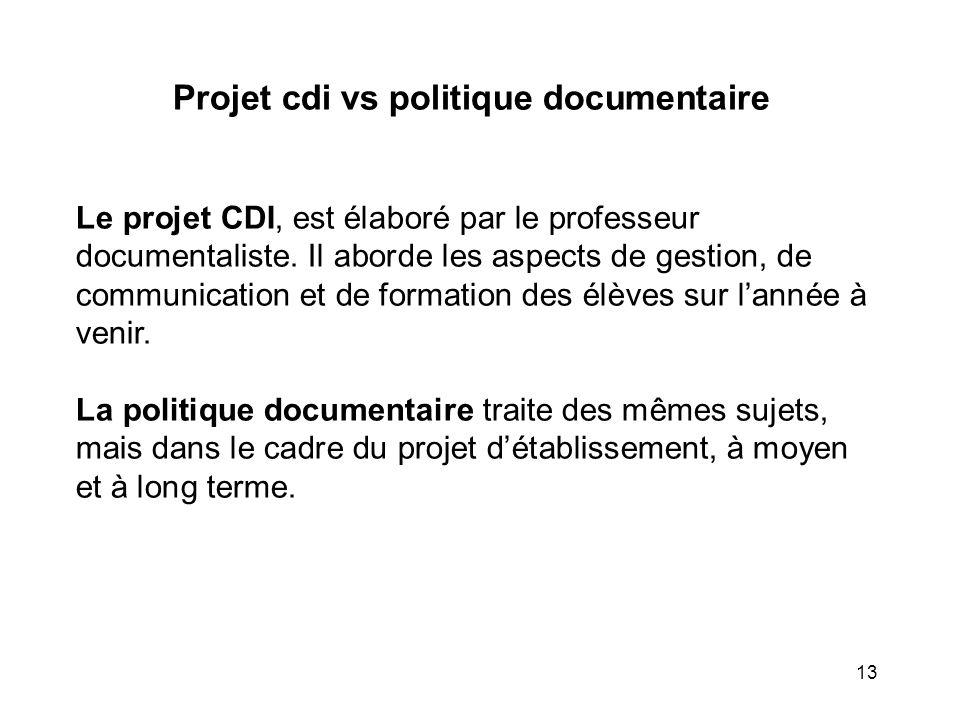 Projet cdi vs politique documentaire