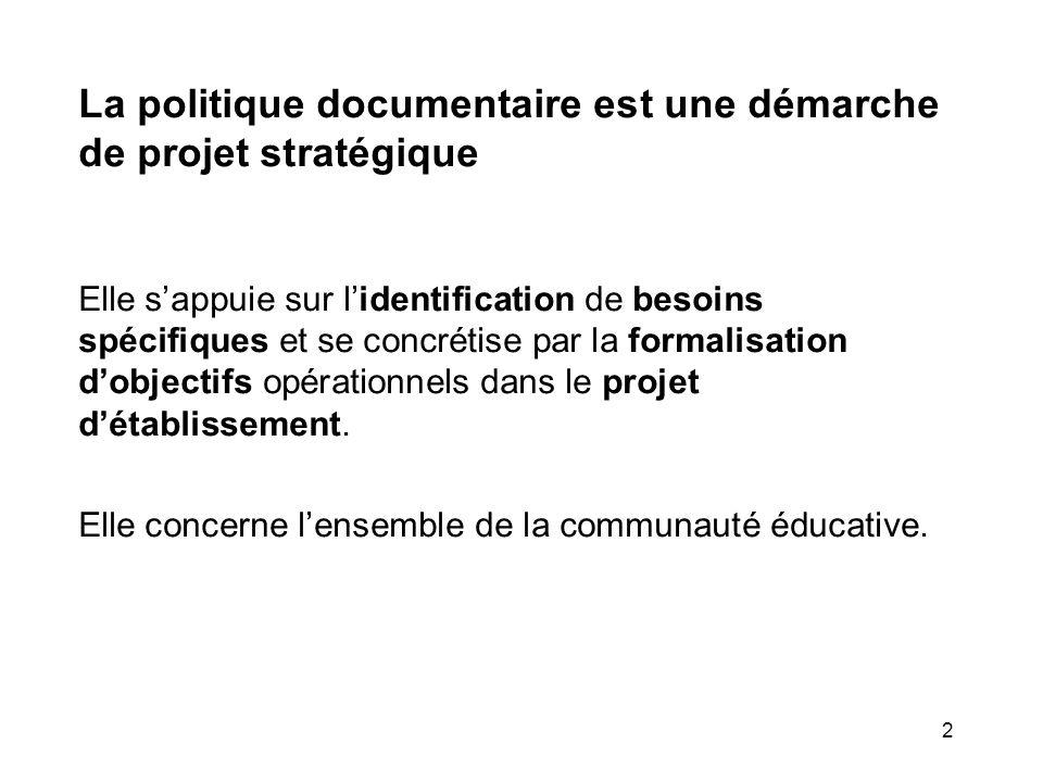 La politique documentaire est une démarche de projet stratégique
