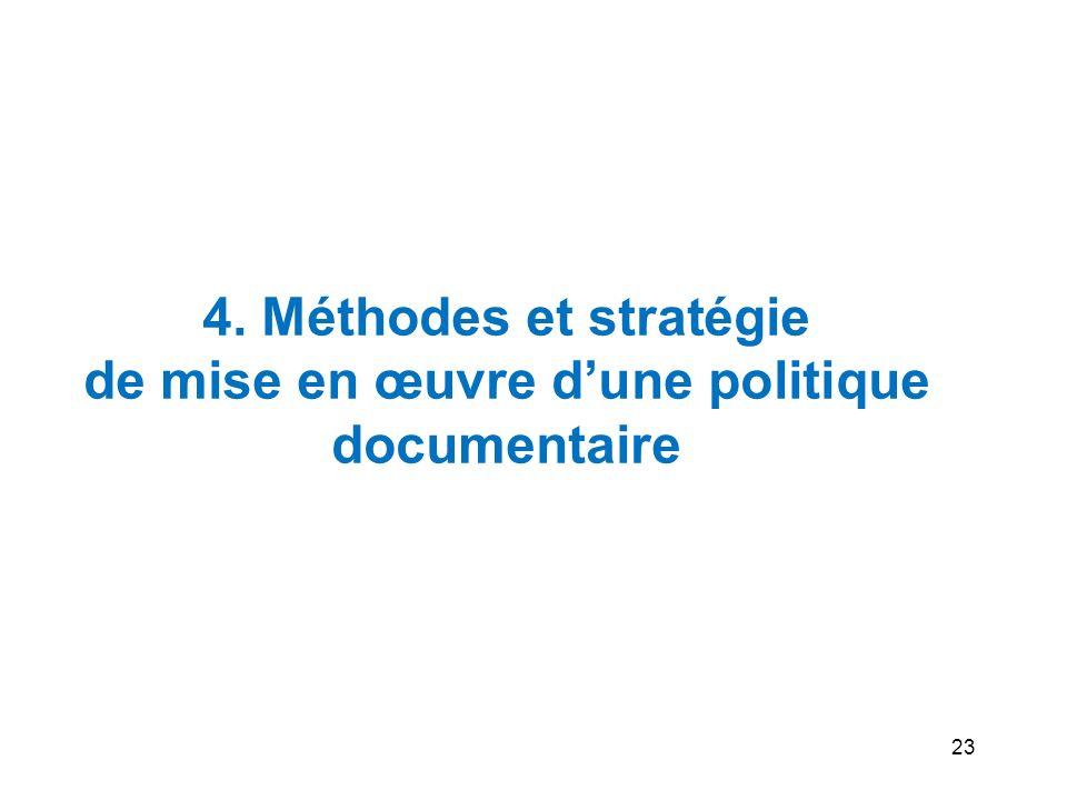 4. Méthodes et stratégie de mise en œuvre d'une politique documentaire