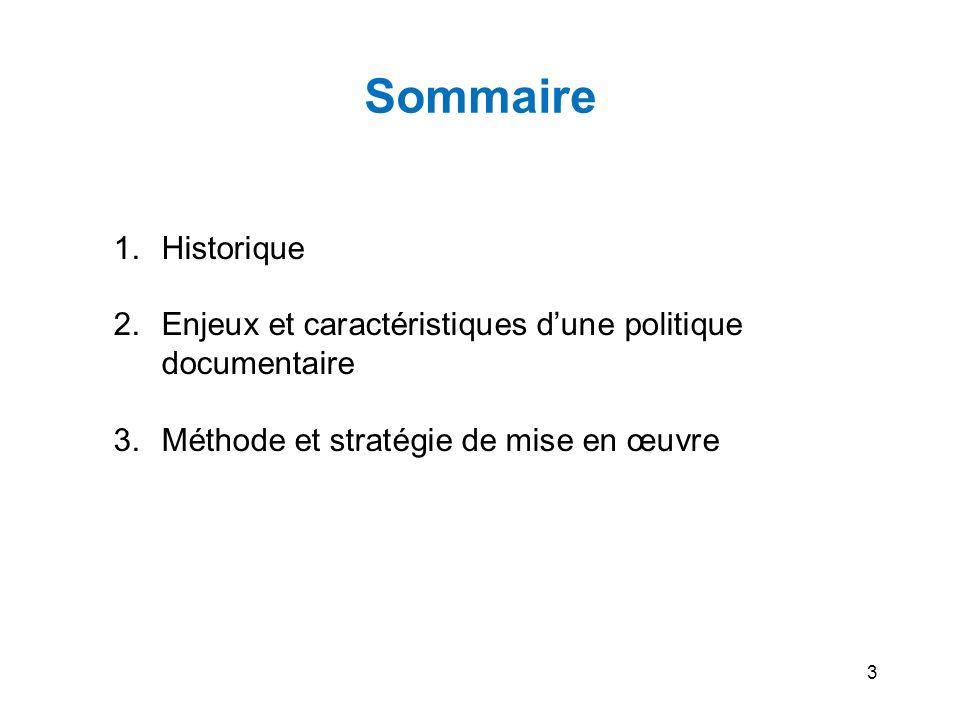 Sommaire Historique. Enjeux et caractéristiques d'une politique documentaire. Méthode et stratégie de mise en œuvre.
