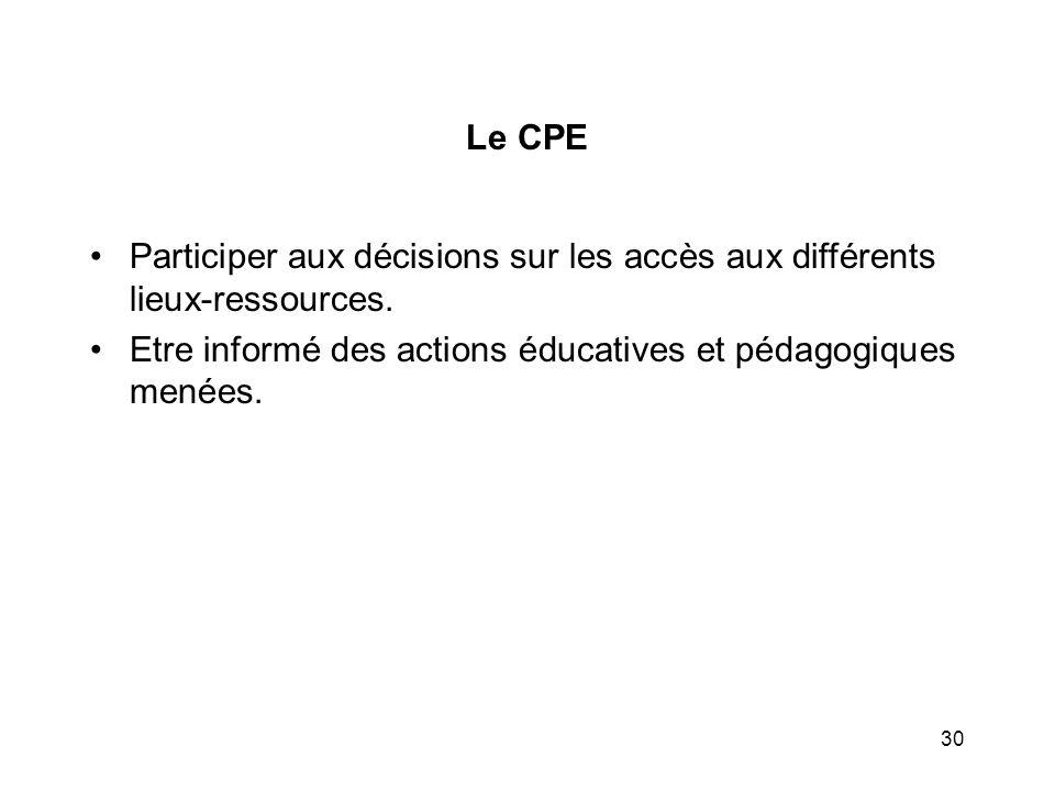 Etre informé des actions éducatives et pédagogiques menées.