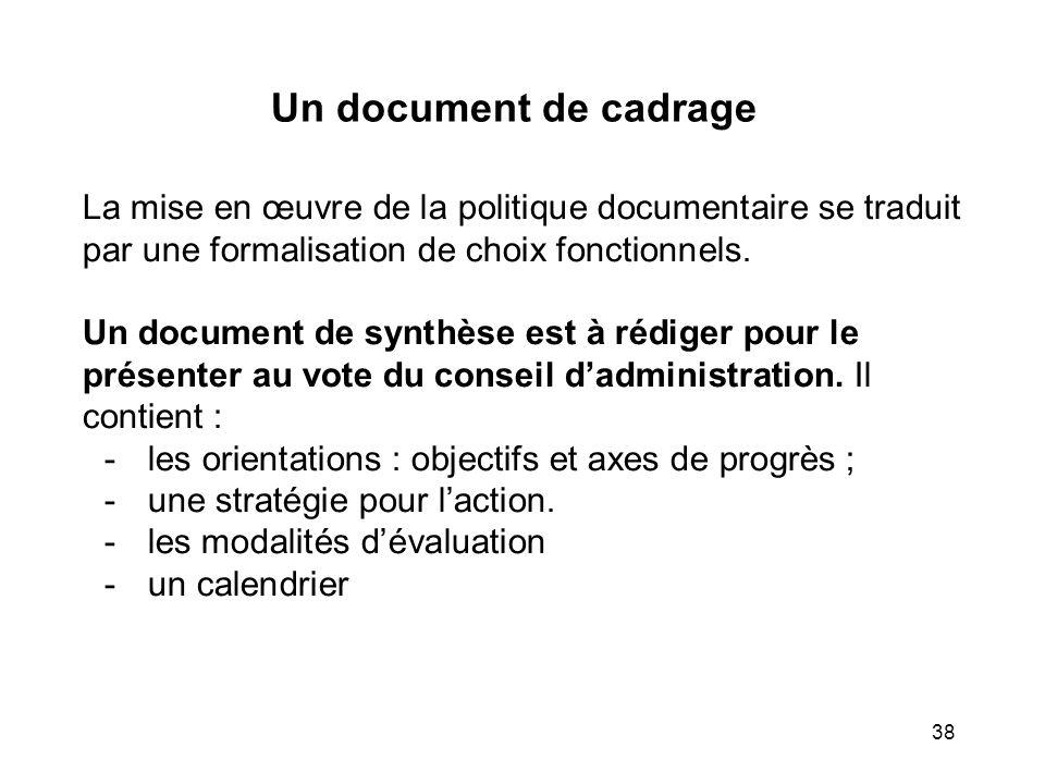 Un document de cadrage La mise en œuvre de la politique documentaire se traduit par une formalisation de choix fonctionnels.