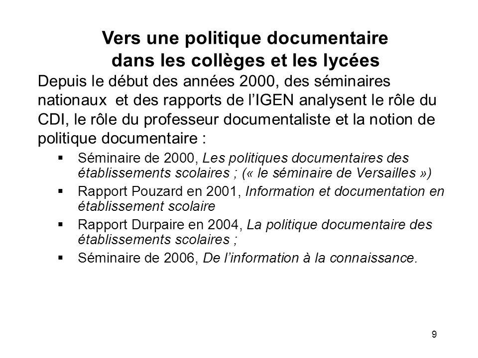 Vers une politique documentaire dans les collèges et les lycées