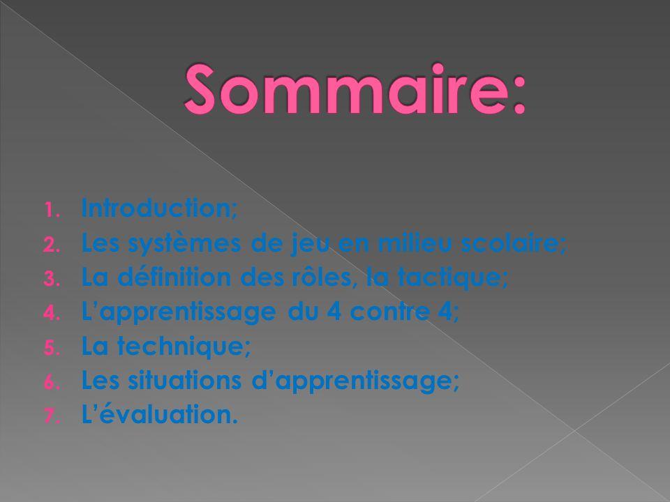 Sommaire: Introduction; Les systèmes de jeu en milieu scolaire;