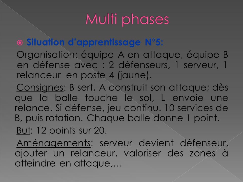 Multi phases Situation d'apprentissage N°5: