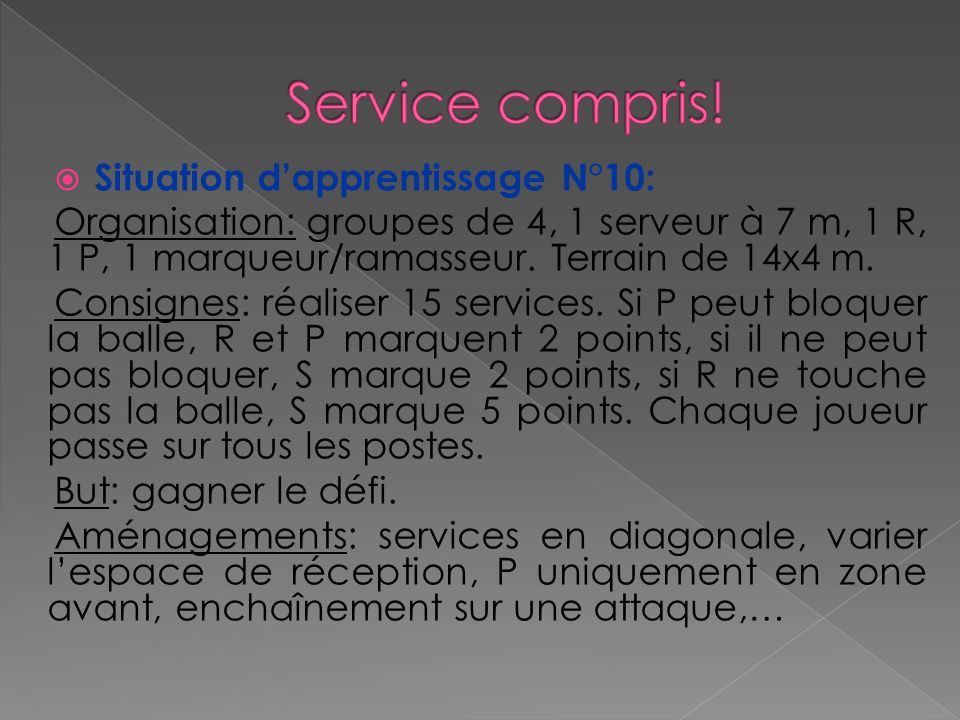 Service compris! Situation d'apprentissage N°10:
