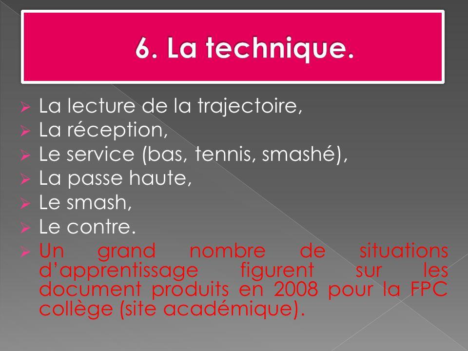 6. La technique. La lecture de la trajectoire, La réception,