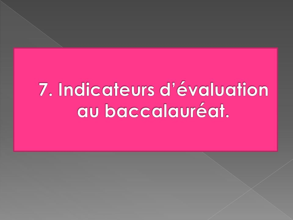 7. Indicateurs d'évaluation au baccalauréat.