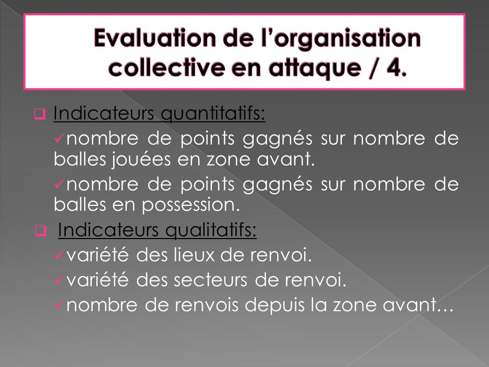 Evaluation de l'organisation collective en attaque / 4.