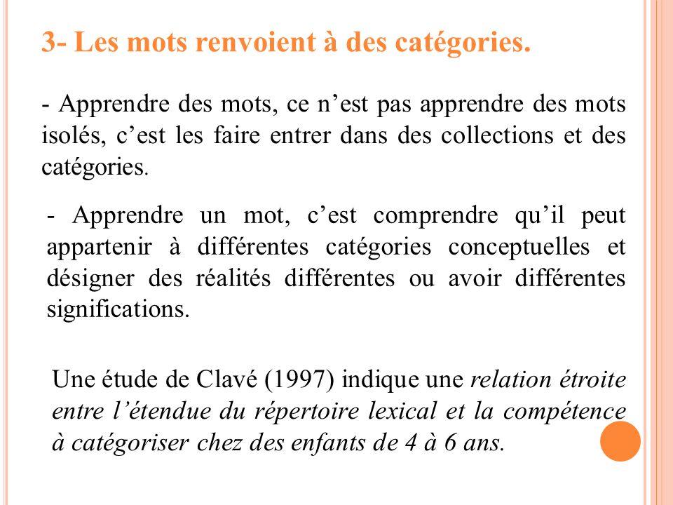 3- Les mots renvoient à des catégories.
