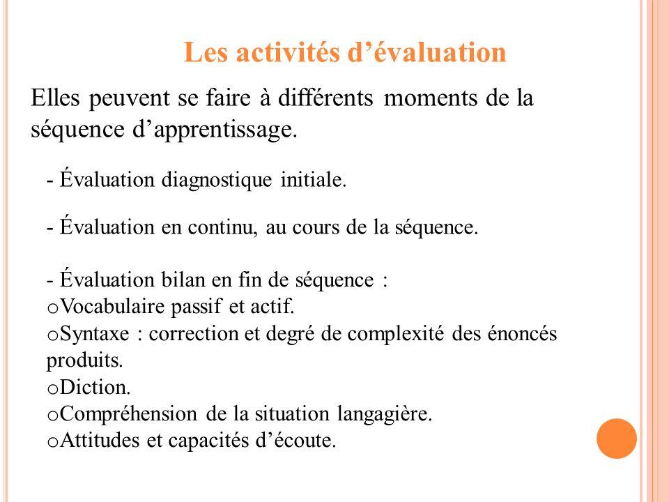 Les activités d'évaluation