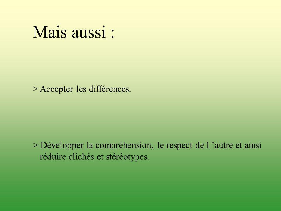 Mais aussi : > Accepter les différences.