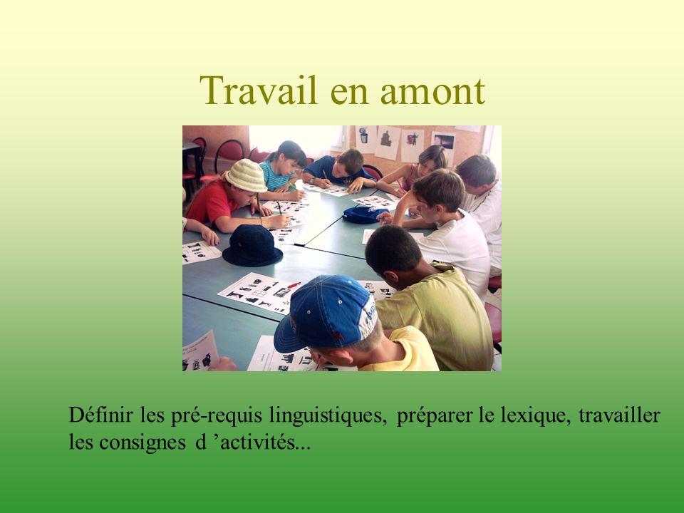Travail en amont Définir les pré-requis linguistiques, préparer le lexique, travailler.