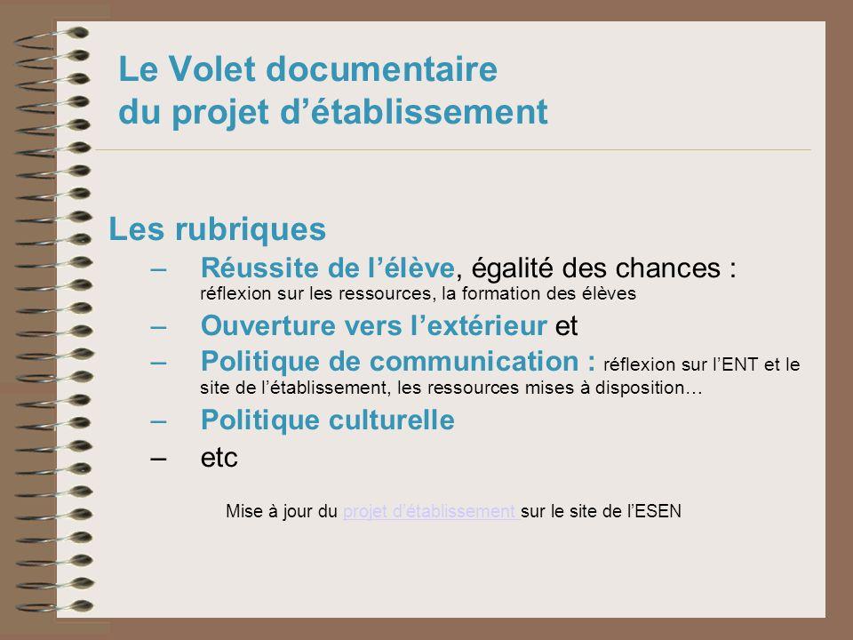 Le Volet documentaire du projet d'établissement