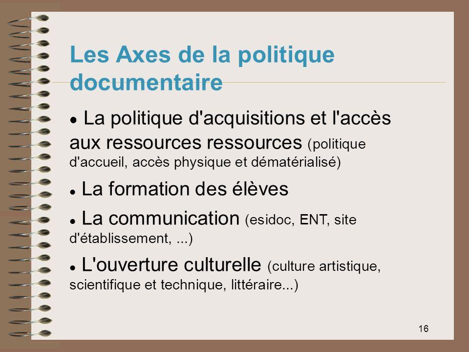 Les Axes de la politique documentaire