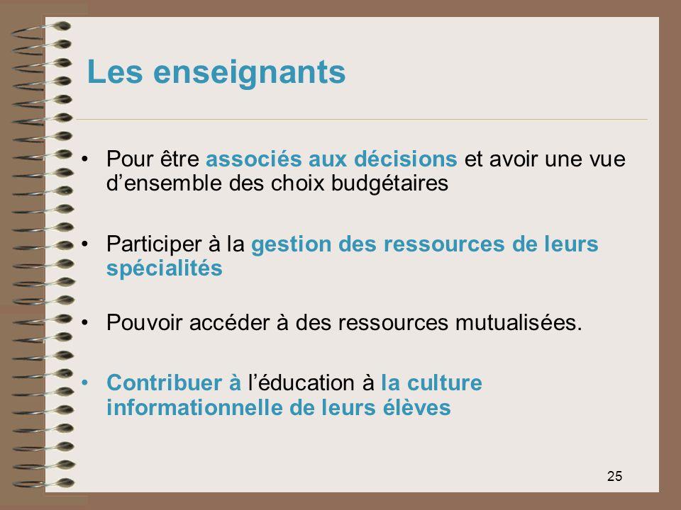 Les enseignants Pour être associés aux décisions et avoir une vue d'ensemble des choix budgétaires.