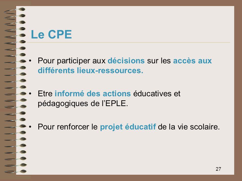 Le CPE Pour participer aux décisions sur les accès aux différents lieux-ressources. Etre informé des actions éducatives et pédagogiques de l'EPLE.
