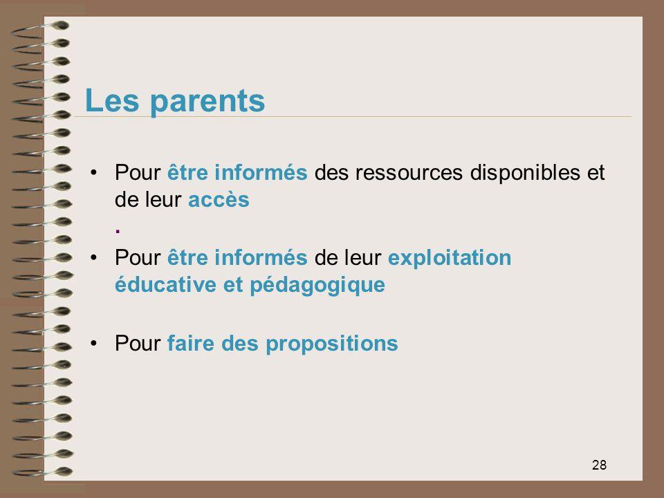 Les parents Pour être informés des ressources disponibles et de leur accès . Pour être informés de leur exploitation éducative et pédagogique.