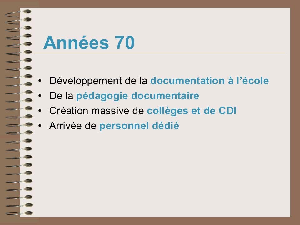 Années 70 Développement de la documentation à l'école