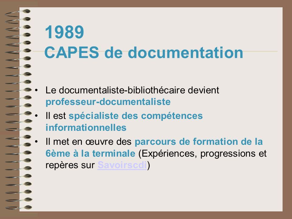 1989 CAPES de documentation