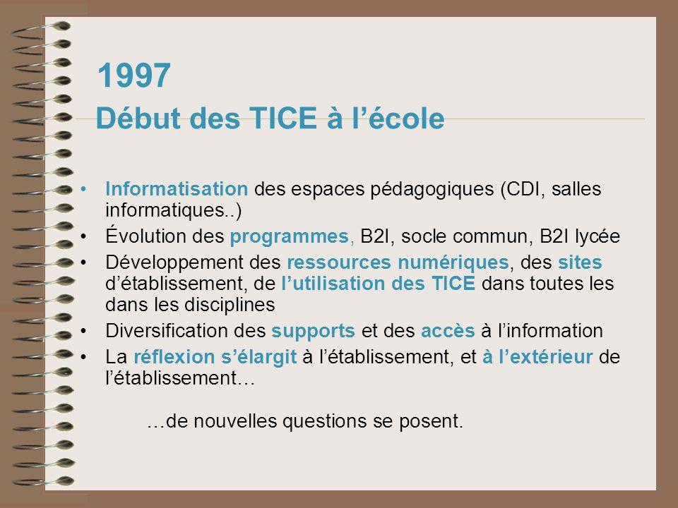 1997 Début des TICE à l'école
