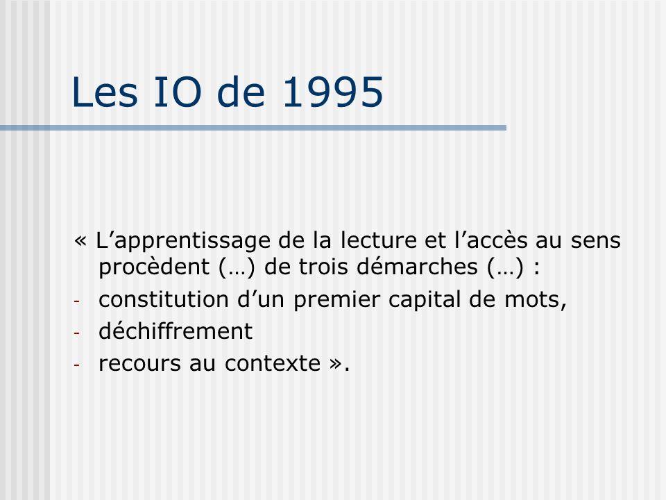 Les IO de 1995 « L'apprentissage de la lecture et l'accès au sens procèdent (…) de trois démarches (…) :