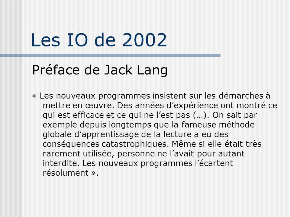Les IO de 2002 Préface de Jack Lang
