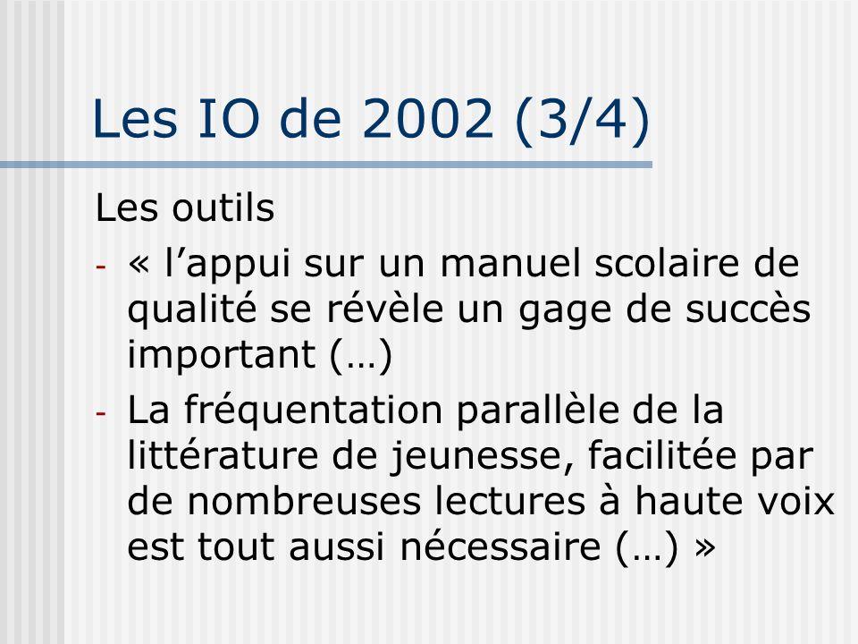 Les IO de 2002 (3/4) Les outils. « l'appui sur un manuel scolaire de qualité se révèle un gage de succès important (…)