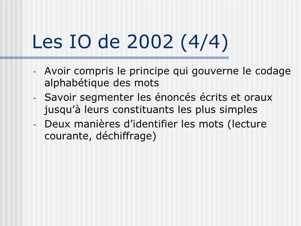 Les IO de 2002 (4/4) Avoir compris le principe qui gouverne le codage alphabétique des mots.