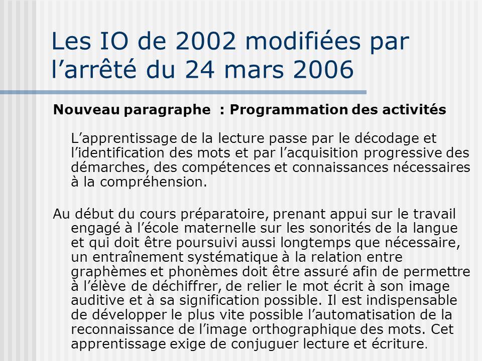 Les IO de 2002 modifiées par l'arrêté du 24 mars 2006