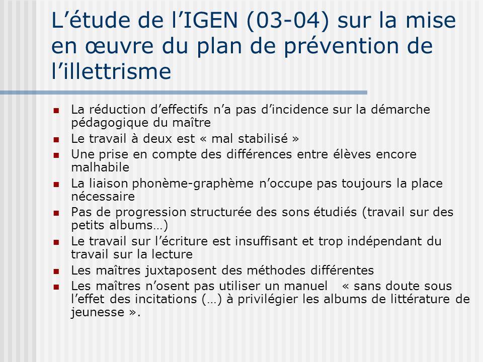 L'étude de l'IGEN (03-04) sur la mise en œuvre du plan de prévention de l'illettrisme