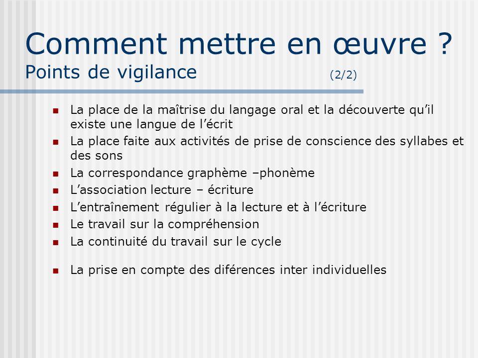 Comment mettre en œuvre Points de vigilance (2/2)