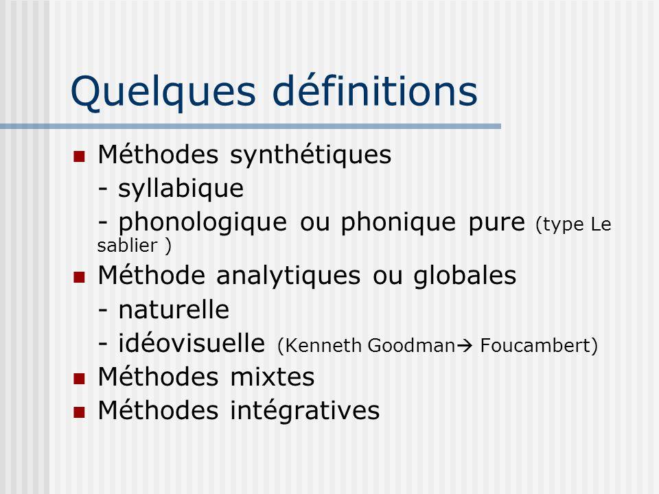 Quelques définitions Méthodes synthétiques - syllabique