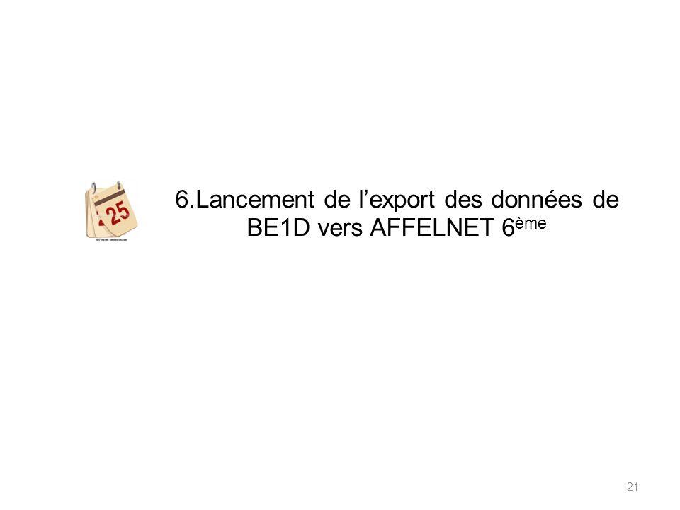 6.Lancement de l'export des données de BE1D vers AFFELNET 6ème