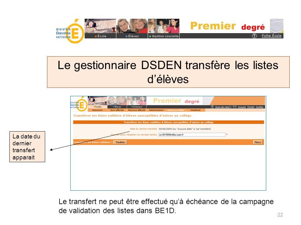 Le gestionnaire DSDEN transfère les listes d'élèves