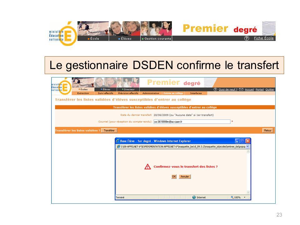 Le gestionnaire DSDEN confirme le transfert